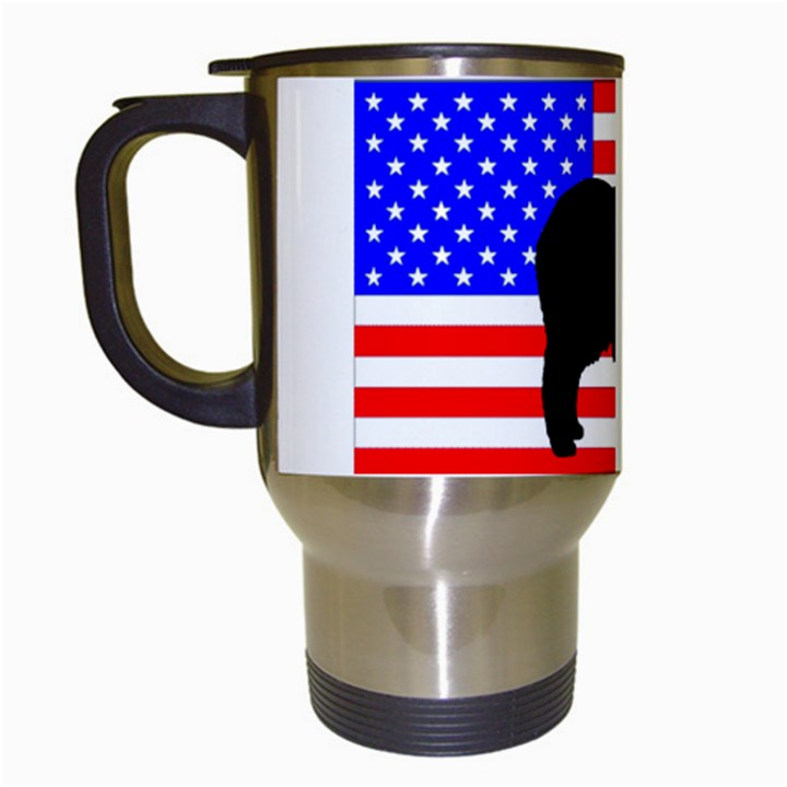 Australian Shepherd Silo Usa Flag Travel Mugs (White)