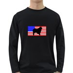 Australian Shepherd Silo Usa Flag Long Sleeve Dark T-Shirts Front