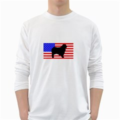 Australian Shepherd Silo Usa Flag White Long Sleeve T-Shirts