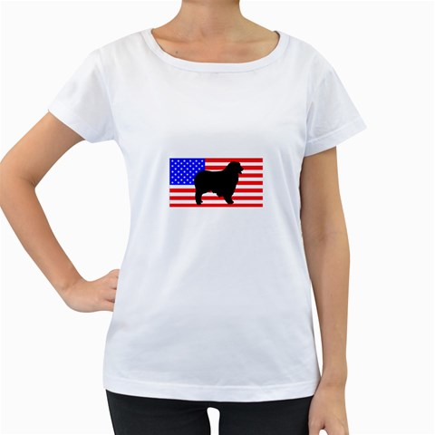 Australian Shepherd Silo Usa Flag Women s Loose-Fit T-Shirt (White)