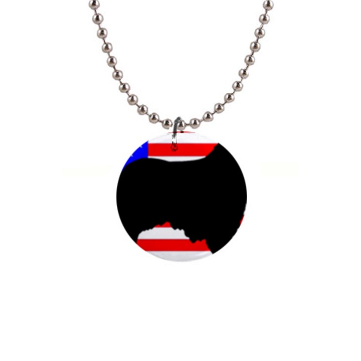 Australian Shepherd Silo Usa Flag Button Necklaces