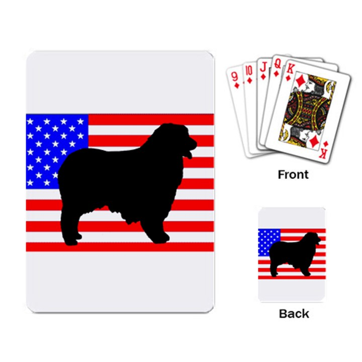 Australian Shepherd Silo Usa Flag Playing Card