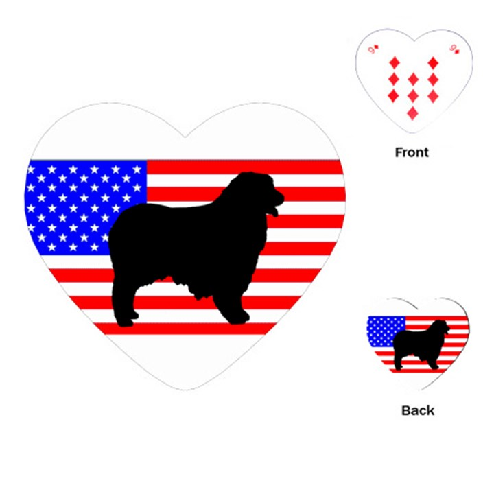 Australian Shepherd Silo Usa Flag Playing Cards (Heart)