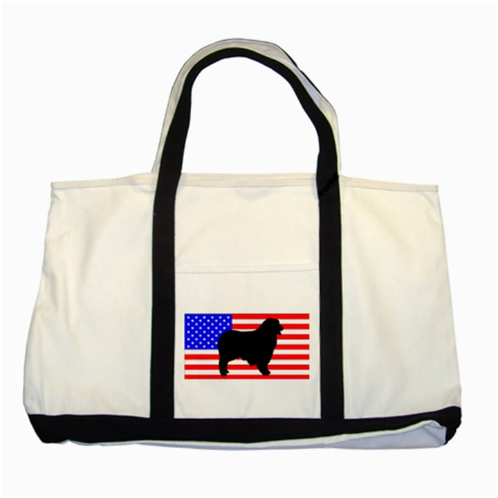 Australian Shepherd Silo Usa Flag Two Tone Tote Bag