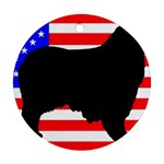 Australian Shepherd Silo Usa Flag Round Ornament (Two Sides)  Back