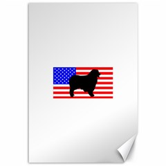 Australian Shepherd Silo Usa Flag Canvas 12  x 18