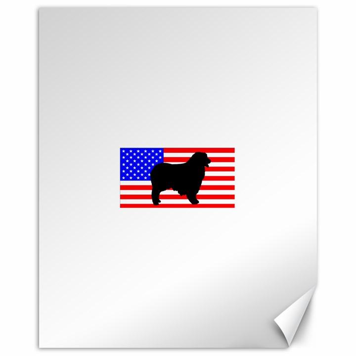 Australian Shepherd Silo Usa Flag Canvas 16  x 20
