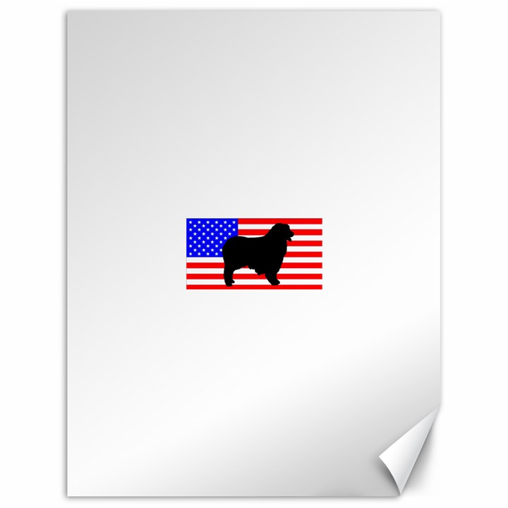 Australian Shepherd Silo Usa Flag Canvas 18  x 24