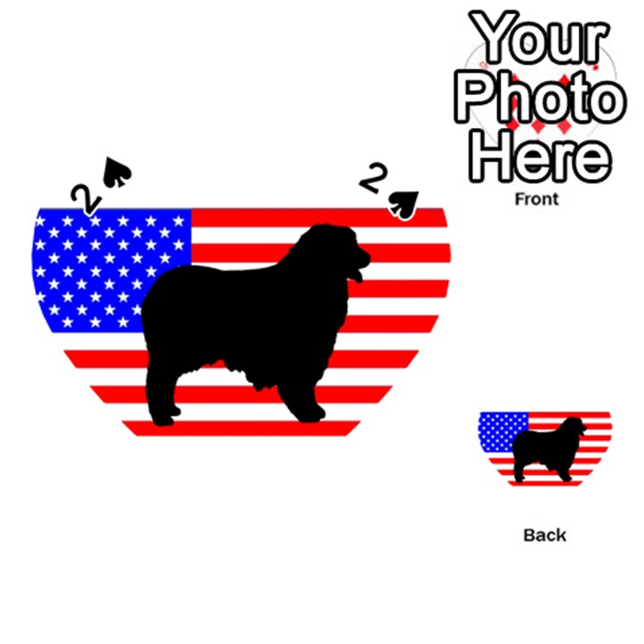 Australian Shepherd Silo Usa Flag Playing Cards 54 (Heart)