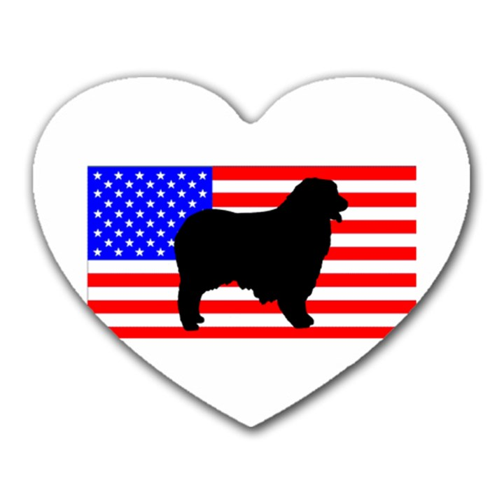 Australian Shepherd Silo Usa Flag Heart Mousepads