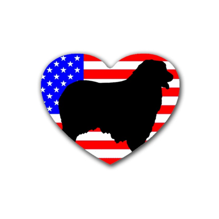 Australian Shepherd Silo Usa Flag Rubber Coaster (Heart)