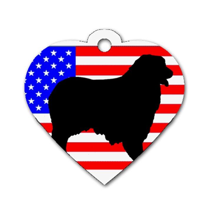 Australian Shepherd Silo Usa Flag Dog Tag Heart (One Side)