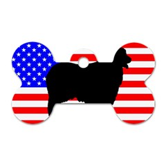 Australian Shepherd Silo Usa Flag Dog Tag Bone (Two Sides)