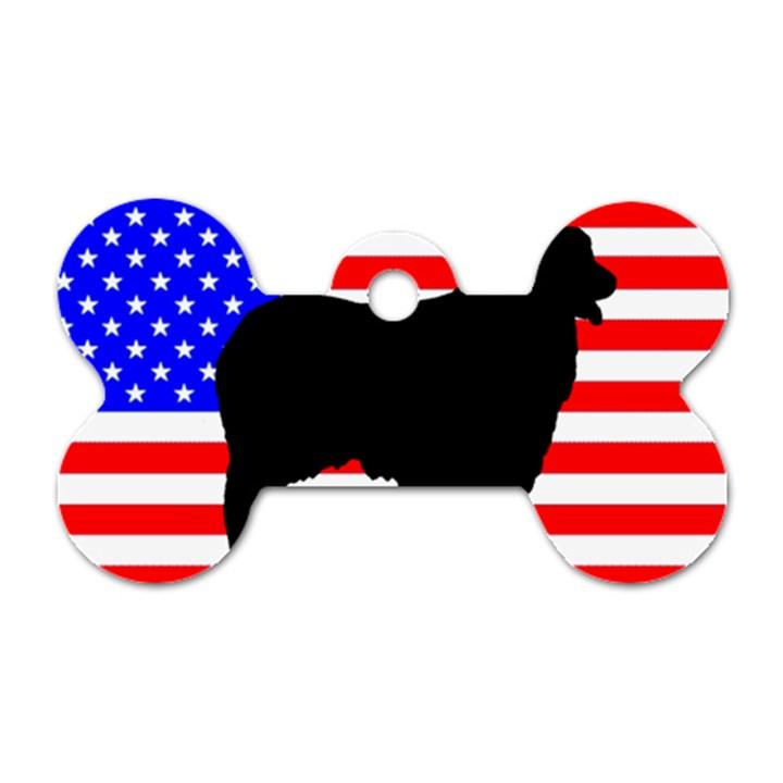 Australian Shepherd Silo Usa Flag Dog Tag Bone (Two Sides)