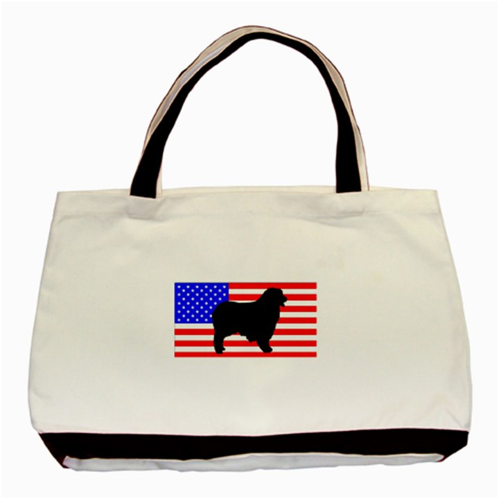 Australian Shepherd Silo Usa Flag Basic Tote Bag (Two Sides)