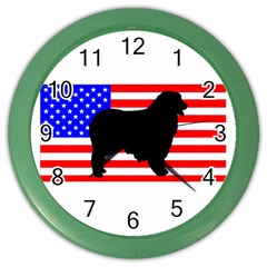 Australian Shepherd Silo Usa Flag Color Wall Clocks