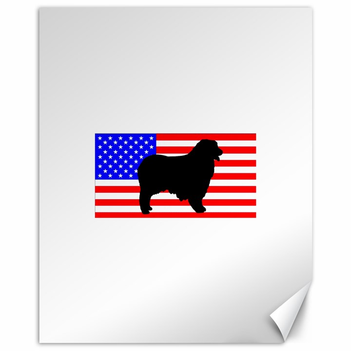 Australian Shepherd Silo Usa Flag Canvas 11  x 14