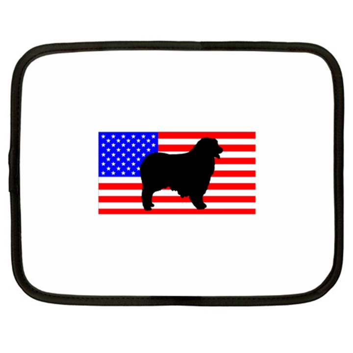 Australian Shepherd Silo Usa Flag Netbook Case (Large)