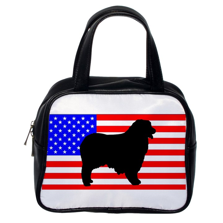 Australian Shepherd Silo Usa Flag Classic Handbags (One Side)