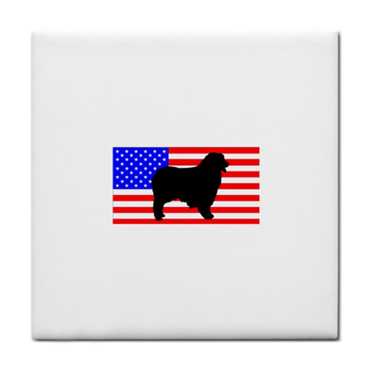 Australian Shepherd Silo Usa Flag Face Towel