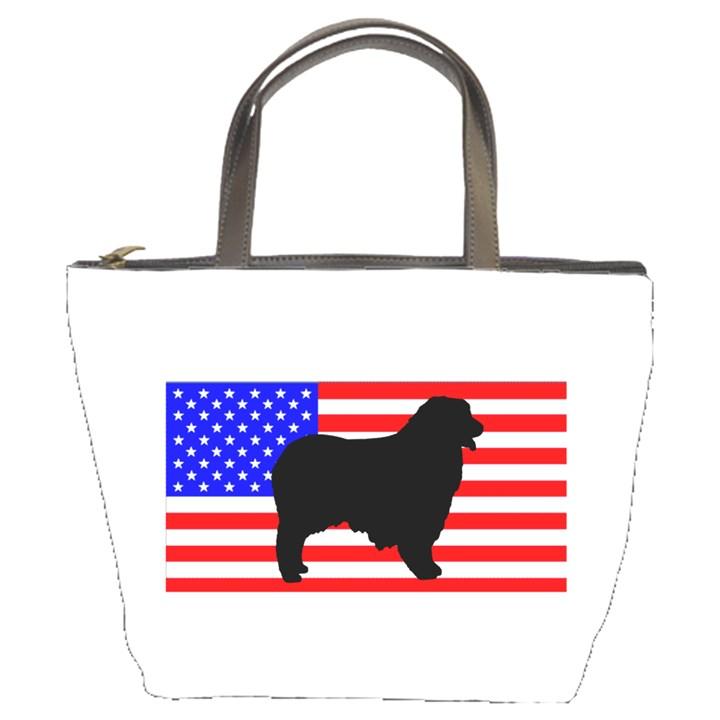 Australian Shepherd Silo Usa Flag Bucket Bags