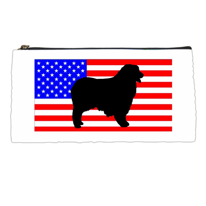 Australian Shepherd Silo Usa Flag Pencil Cases