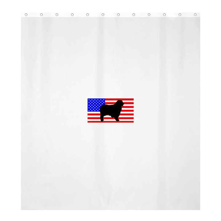 Australian Shepherd Silo Usa Flag Shower Curtain 66  x 72  (Large)
