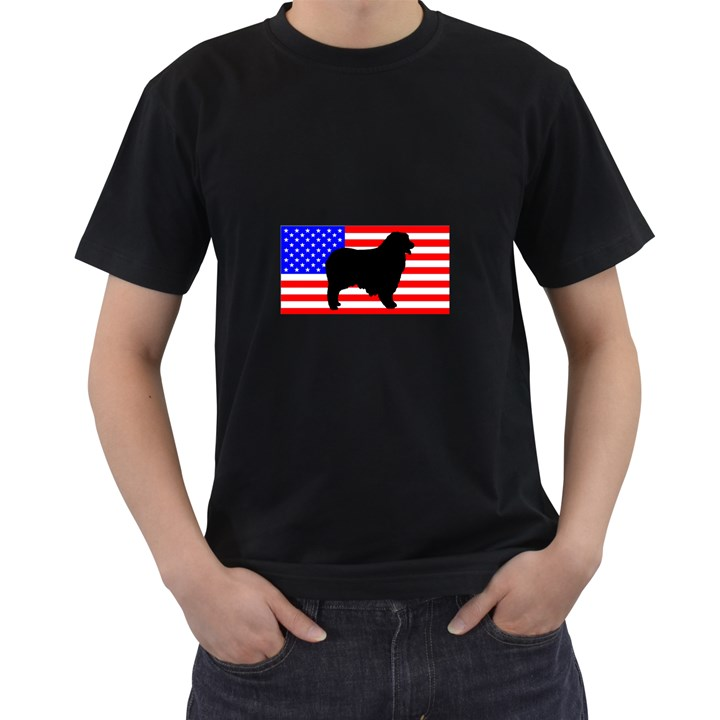 Australian Shepherd Silo Usa Flag Men s T-Shirt (Black)
