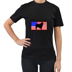 Australian Shepherd Silo Usa Flag Women s T-Shirt (Black)