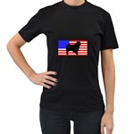 Australian Shepherd Silo Usa Flag Women s T-Shirt (Black) Front