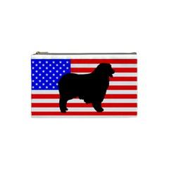 Australian Shepherd Silo Usa Flag Cosmetic Bag (Small)