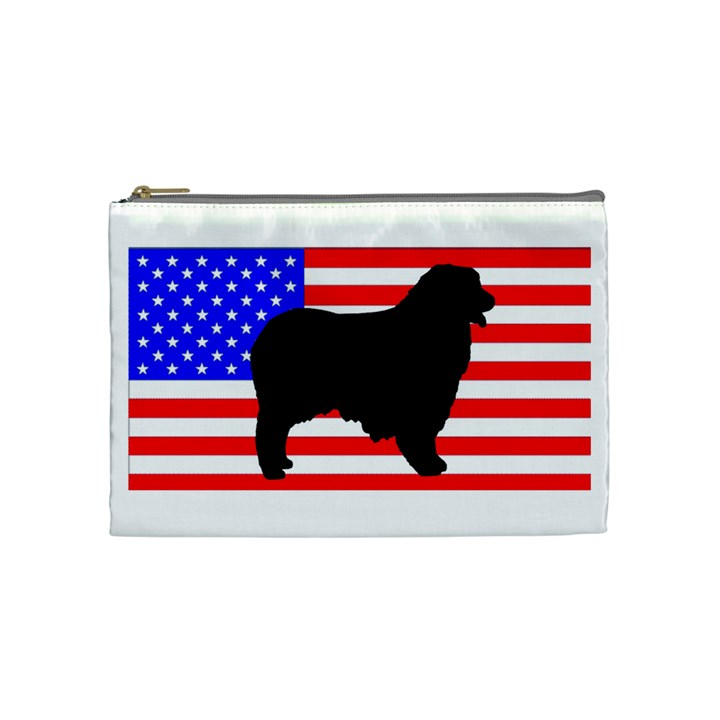 Australian Shepherd Silo Usa Flag Cosmetic Bag (Medium)