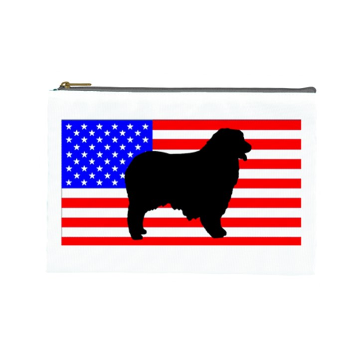 Australian Shepherd Silo Usa Flag Cosmetic Bag (Large)