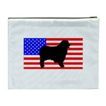 Australian Shepherd Silo Usa Flag Cosmetic Bag (XL) Back