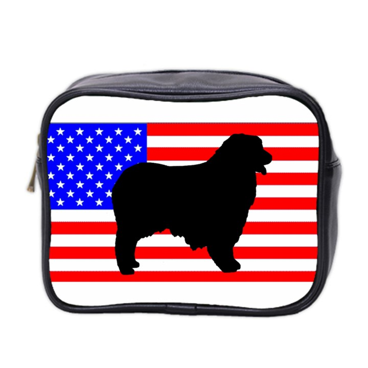Australian Shepherd Silo Usa Flag Mini Toiletries Bag 2-Side