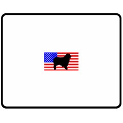 Australian Shepherd Silo Usa Flag Fleece Blanket (Medium)