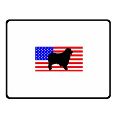 Australian Shepherd Silo Usa Flag Fleece Blanket (Small)