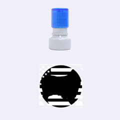 Australian Shepherd Silo Usa Flag Rubber Round Stamps (Small)