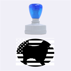 Australian Shepherd Silo Usa Flag Rubber Oval Stamps