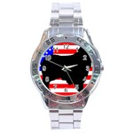 Australian Shepherd Silo Usa Flag Stainless Steel Analogue Watch Front