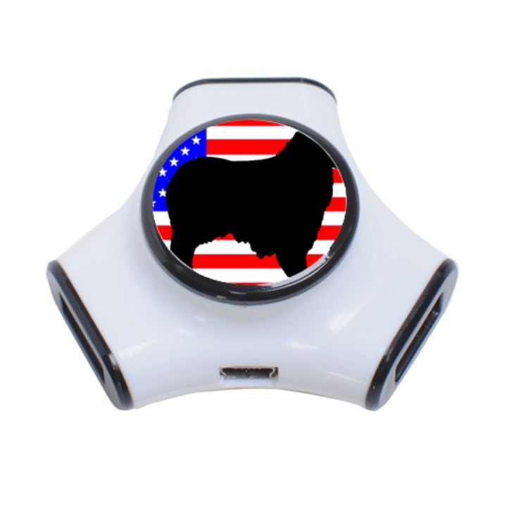 Australian Shepherd Silo Usa Flag 3-Port USB Hub