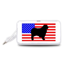 Australian Shepherd Silo Usa Flag Portable Speaker (White)