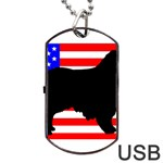 Australian Shepherd Silo Usa Flag Dog Tag USB Flash (Two Sides)  Front