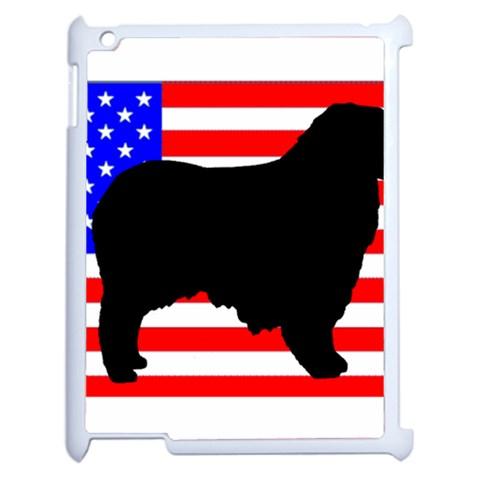 Australian Shepherd Silo Usa Flag Apple iPad 2 Case (White)