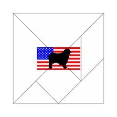 Australian Shepherd Silo Usa Flag Acrylic Tangram Puzzle (6  x 6 )
