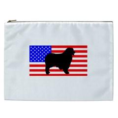 Australian Shepherd Silo Usa Flag Cosmetic Bag (XXL)