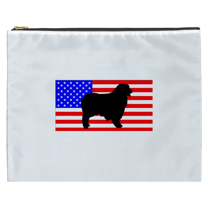 Australian Shepherd Silo Usa Flag Cosmetic Bag (XXXL)
