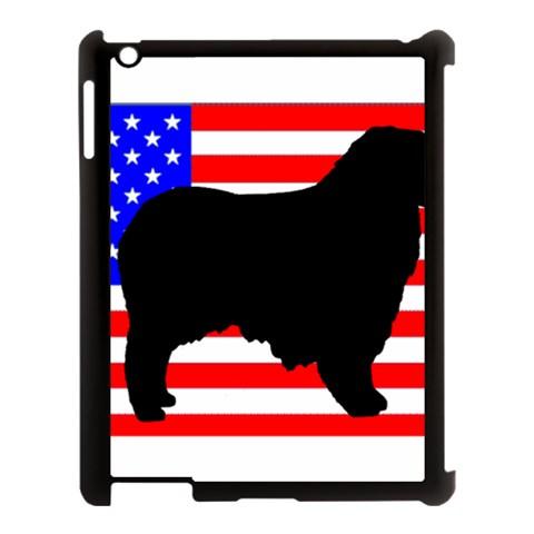 Australian Shepherd Silo Usa Flag Apple iPad 3/4 Case (Black)