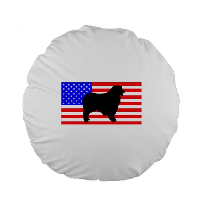 Australian Shepherd Silo Usa Flag Standard 15  Premium Round Cushions