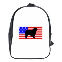 Australian Shepherd Silo Usa Flag School Bags (XL)